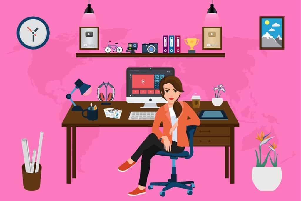 woman, desk, computer