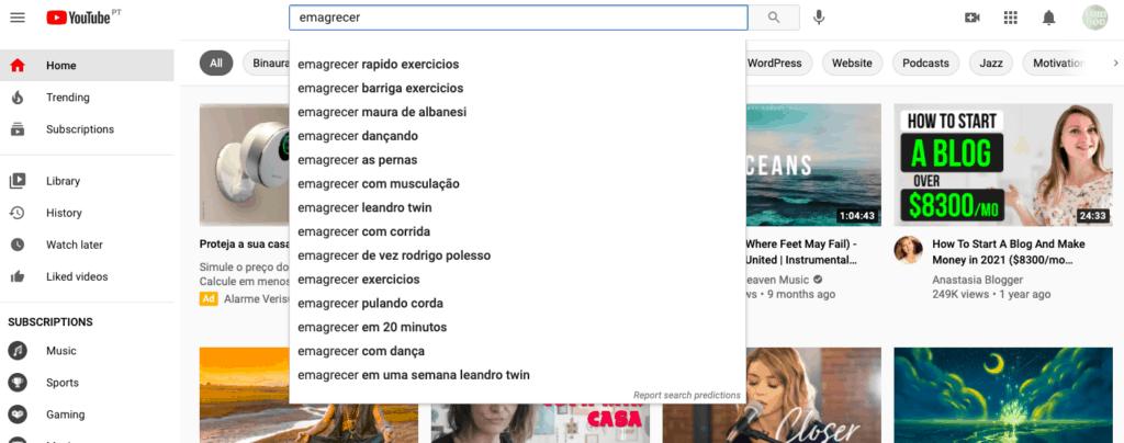 Pesquisas Relacionadas no Youtube ajudam a encontrar a palavra-chave certa