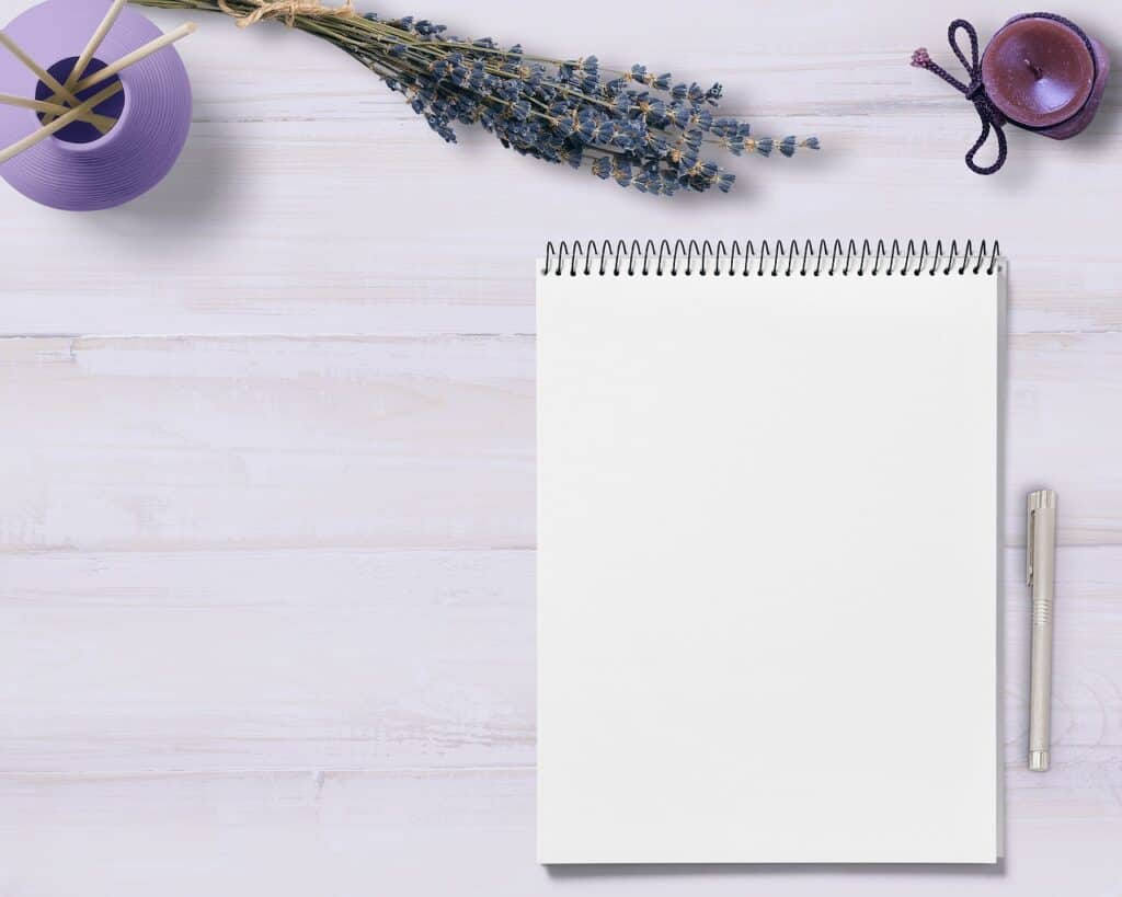 notepad, table, decoration