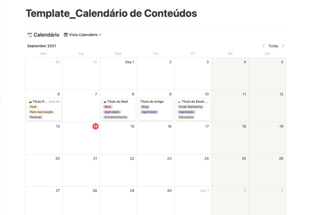 Template de calendário de conteúdos do Notion